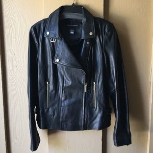 Moda International Black Leather Jacket size S